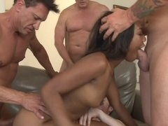 Four hard white cocks fuck Chanell Heart in her tight holes