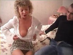 British granny goes completely insane and moreover tries to have an intercourse with her grand moreoverson's famous