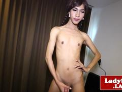 Solo pigtail ladyboy toys her tight ass