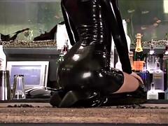 2 Lara Black Latex Sleeved Dress
