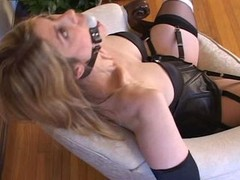 Bondage with sexy stockings and moreover high heels (black 6inch pumps)