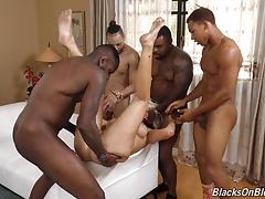 Schwarz, Blondine, Viele männer bespritzen eine frau, Gruppe, Hd, Milf, Party