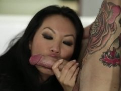Asa Akira and guy with colorful tattoos have real fun