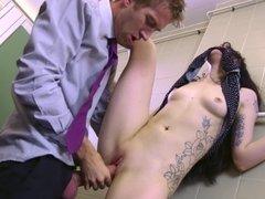 Skinny alt girl Alessa Savage drilled by a huge dick