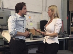 Eager mom boss visits the new hard cock in warehouse
