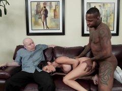 Tattooed Ebony boy does his job with white man's wife