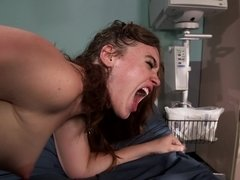A sexy thing is on the hospital bed, getting fucked really hard