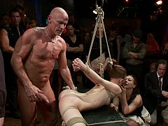 Super flexible Sensi Pearl gets tied up and fucked