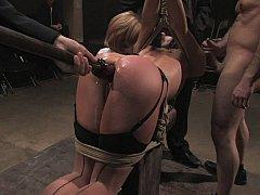 Bondage discipline sadomasochisme, Gebondenheid, Brutaal, Dominatie, Groep, Openbaar, Straf, Slaaf
