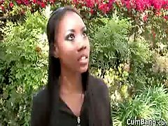 Ebony Gets Blowbanged And Bukkaked