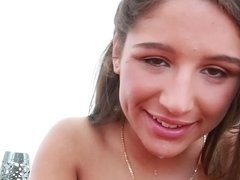 Talented oral artist Abella Danger swallows a dick