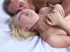 A skinny thing gets her throat held as she is getting fucked