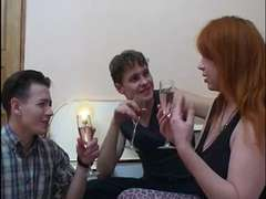 Mature russian redhead boned by two men