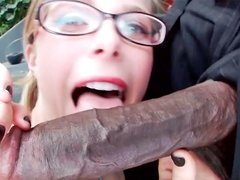 Nerdy blonde always wanted to suck a big, black dick