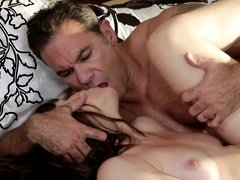 A sexy stepmother is getting her hairy pussy penetrated by the stepson