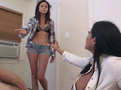 Stepmom enjoys giving a blowjob together with her stepdaughter Ariana