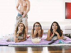 アメリカ人, 茶髪の, 気狂い, グループ, ラティーナ, パーティ, 現実, ティーン