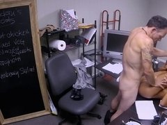 Bleach blonde slut takes a hardcore office fucking