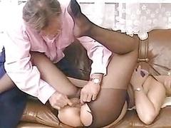 Blondine, Strumpfhose