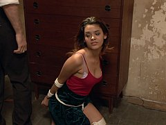 Tied babe anticipates rough and hardcore sex
