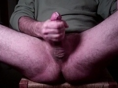 Jerking purple rod, squirting orgasm