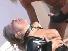 Blonde In Latex Outdoor Make love