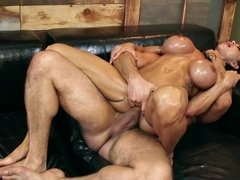 Slutty MILF is banged in every hole by two masseurs