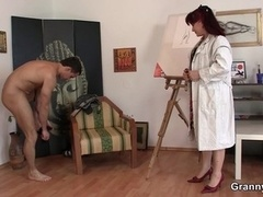 Excited lady jumps on fresh love pole