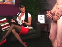 Boobalicious voyeur teasing a submissive stranger