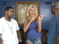 Katie Summers and black guys have an interracial threesome