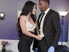 Skintight skirt and blouse babe Katrina Jade needs his BBC