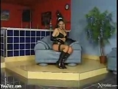 Spicy Latex Gal With Ponytail Rides A Huge Obese Knob