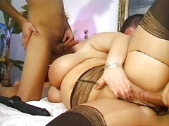 adult bbw Monique East shower and 3-way