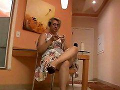 Hirsute Granny Enjoys Knitting