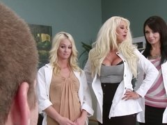 A blonde doctor gets undressed and she then receives a big dick