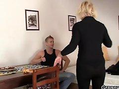 Blonde granny allows him drill her mature muff