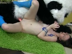 Furry panda costume dude with a pink cock fucks this teen