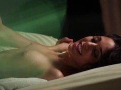 A brunette with a skinny frame is sucking a cock and she is cumshot