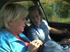 Granny is picked up from the road and also fucked