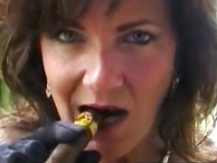 Charming Cougar Deauxma Gets down and dirty Her Cunt and also Tush With A Cigar