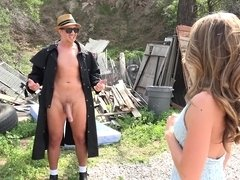 Skinny Kimmy Granger rides nine inches of hard cock outdoors