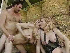 2 Hot Blonde Milfs fuckin a Farmer in the barn