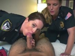 Brunette in police uniform Then they explored his knob