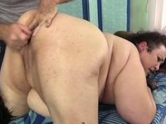 A Sex Crazed Masseur Rubs Down Big beautiful women Moon Baby's Overweight Body and Slightly fat Snatch