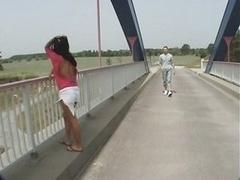 Hot Brunette Fucks On A Top Of A Bridge - Public Sex