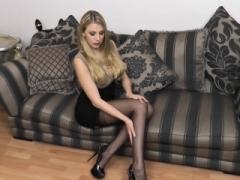 Sexy underwear blonde with big titties