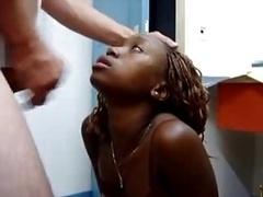 Ebony Newbie gets a Cumload