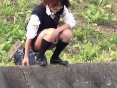 Legal teen asians pee outdoors