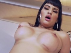 A kinky wife that has large tits is getting fucked by her young partner