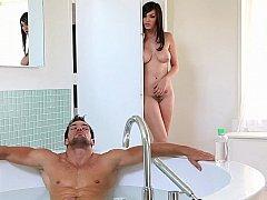 浴室, デカパイ, カップル, 彼女, ハードコア, 自然山雀, ティーン, オッパイの